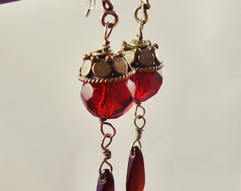 Faceted Ruby Colored Czech Glass Drop Earrings