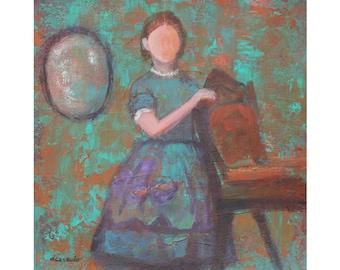 "8 x 8 ORIGINAL Vintage Girl in Dress Portrait on Professional Mixed Media Paper ""Befriending Hannah"" Acrylic Palette Knife"