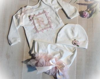 Newborn Girl Monogram Take Home Gown, Personalized Baby Outfit, Baby Girl Monogram Coming Home Outfit