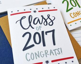 Custom School Colors Graduation card, Class of 2017, Congrats!, Congratulations, Graduate, Graduation Gift, You did it, High School, College