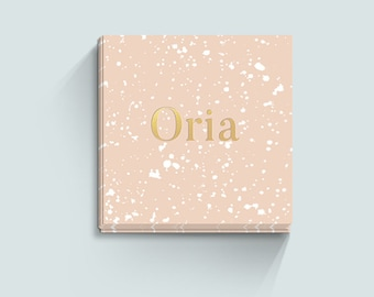 Peach Business Card Design, Gold Foil, Pink, Square Business Card Template, Calling Card, Premade Business Card, Elegant, Classy, Beautiful