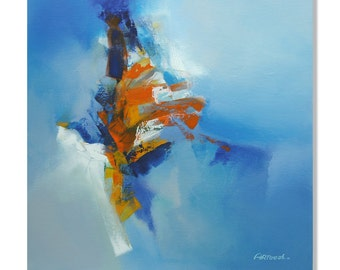 Painting Blue Orange White  Abstract Painting Modern Painting Original Painting