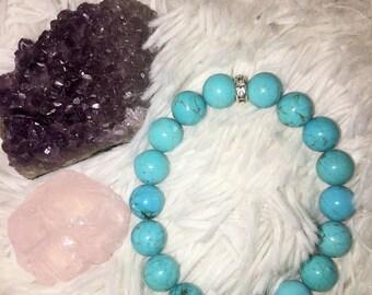 Turquoise Stacking Bracelet - 10 mm Turquoise bracelet