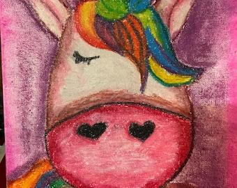 Unicorn oil pastel drawing