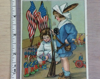 Vintage Old Post Card Washington's Birthday Greetings Used
