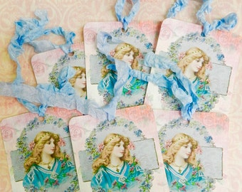 Victorian Girl Flowers Gift Tags Seam Binding Ribbon Gift Tags Set 6 Handmade  Vintage Gift Tag