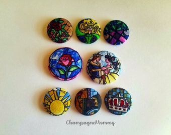 Beauty and the Beast Stained Glass Magnets - Set of 8 - Button Magnets - Fabric Magnets - Disney Princesses - Disney Decor - Home Office