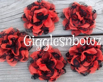 SALE!! HaLLOWeeN OraNGe/BLaCK LaCe-Set of 5 Gorgeous Shabby Chic Frayed Chiffon and Lace Rose Flowers- 3.5 inch