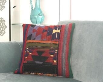 Home Decor for Pillow, Turkish Kilim Pillow, Vintage Decor, Pillow Cover,  Decorative Pillows, Designer Pillow, Motif Pillow, 18x18 inch,