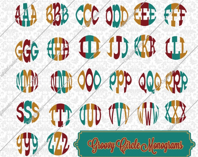 Groovy Circle Monogram Alphabet SVG STUDIO Ai EPS Scalable Vector Instant Download Cutting File Commercial Use Cricut Silhouette