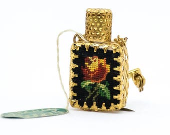 Vintage Brooch - Petit Point Perfume Bottle Brooch - Perfume Bottle Brooch - Austrian Brooch - Tapestry Brooch - Gift For Her - Mom Gift