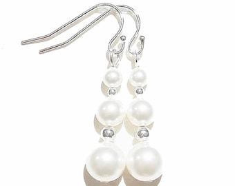 Classic Swarovski Pearl & Sterling Silver Earrings - White