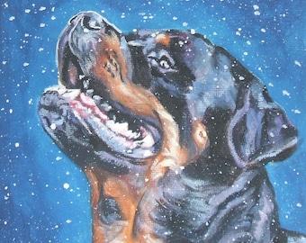 Rottweiler dog art CANVAS print of LA Shepard painting 8x8 dog portrait