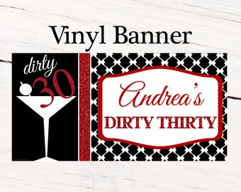 Dirty Thirty Happy Birthday Banner  ~ Happy 30th Birthday Personalized Party Banners Red & Black Banner, 21st Birthday Banner