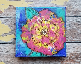 Original Floral Painting | Flower Art | Original 6x6 Canvas | Wildflower Art | Pink Flower Painting | Saltons Cove Studio