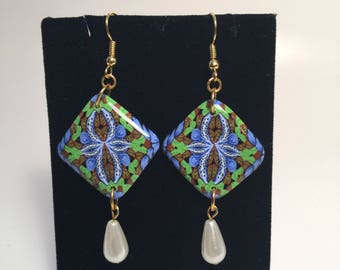 Blue and green square dangle earrings from my forest stream line
