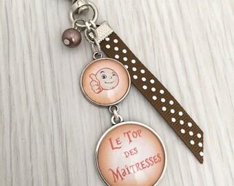 porte-clés bijou de sac a message thème le top des maîtresses orange.REF.37, keychain, bag charm a custom message