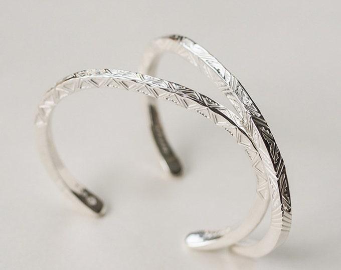 Tribal Silver Bangle | Navajo Inspired | Ethnic Bangle | 950 Sterling Silver Bangle | Tribal Cuff Bracelet Bangle | Custom Engraved Bangle