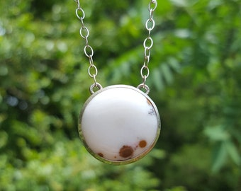 CLEARANCE Polka Dot Agate White & Brown Sterling Silver Cowhide Spotted Unique Handmade Boho Western Necklace