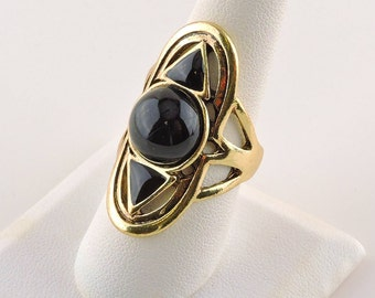 Size 8 Gold Tone And Black Glass Ring