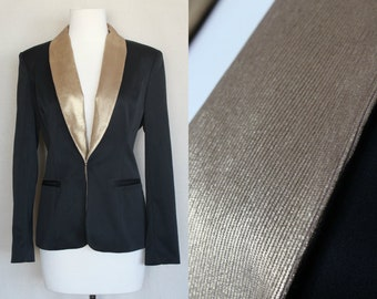 XSmall Vintage Goth Wedding Wear\Vintage Clothing Gold and Black Bride Jacket\Black and Gold Burlesque Blazer\Bridal Party\50s Party Fashion
