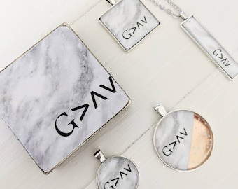 God Is Greater Collection - shelf sitter, necklace, jewelry, marble design