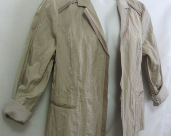 Vintage Chico's Sz 3 (XL) Open Front Fully Lined Beige Blazer with Slight Irredescent Sparkle Chico's Blazer 2 Tone with Pockets