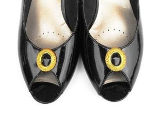 1980s Black Onyx Slingbacks Vintage Selby Designer Patent Leather Loafers Peep Toe Flats Gold Oval Obsidian Gem Chunky Heel Pumps Size 7 1/2
