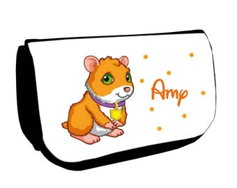 Black pig /crayons make-up bag from India personalized with name