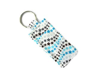 Lip Balm Keychain Pouch - Travel Soap to Attach to Purse or Bag - Blue and Gray Stars - Soap Key Ring - Carrier for Lipstick - Hand Sewn