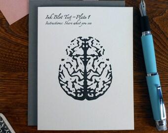 letterpress mind inkblot test i see a genius mind. congratulations grad! greeting card Rorschach test brain