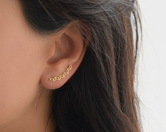 Ear Climbers Earrings , Silver Ear Cuff Earrings , Ear Crawler Earrings , Silver \ Gold Ear Cuffs Earrings