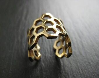 MOLECULE Brass Ring . Honeycomb Ring Adjustable . Modern Urban Chic . Festival Yoga Jewelry . ZARIshop