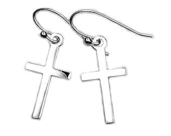 Trendy Cross Earrings - Solid Sterling Silver - Cross Dangle Earrings - Christian Jewelry - Gift AC306