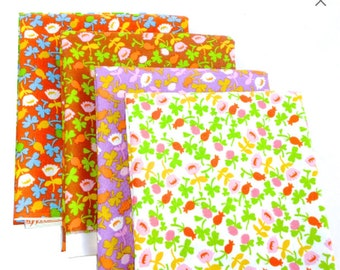 Briar Rose Cotton Fabric by Heather Ross, Calico Floral Fat quarter set of 4
