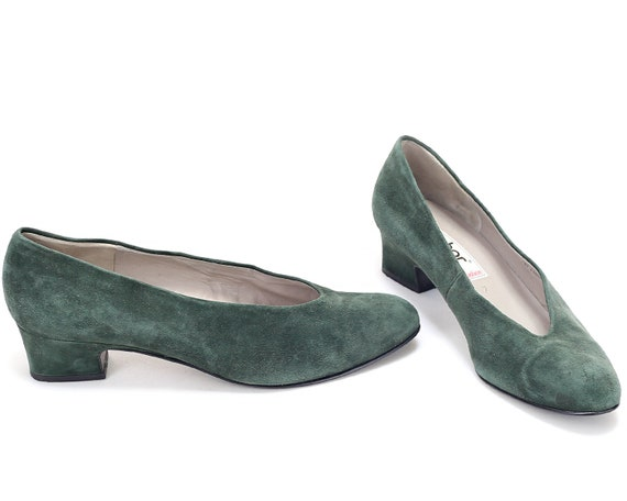 Wide 80s Formal Green Block Heels size Footwear Elegant 7 Europe in Casual Uk Court 9 5 US Made Vintage Suede Austria Shoes 40 Heel Fit Eur xpPzwq