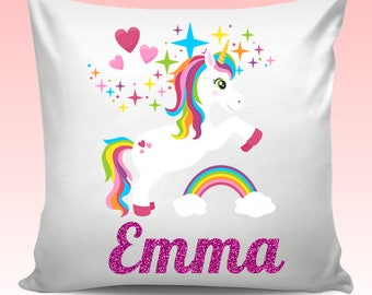 Personalised Any Name UNICORN Cushion Cover Christmas Birthday Gift - Design 5