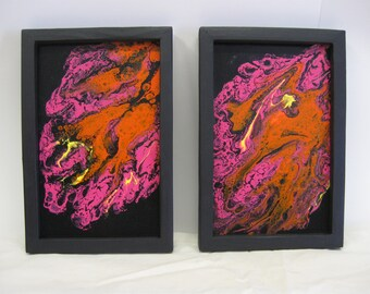 Acrylic Flow on Wood Panels(2),Handmade Frame in black