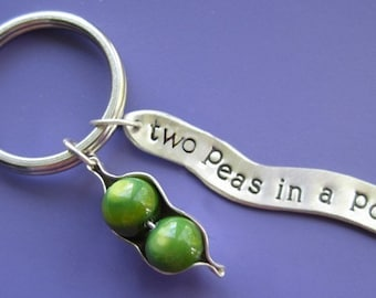 Two Peas in a Pod Charm Keychain