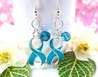 Cervical cancer teal ribbon Swarovski crystal dangle sterling silver earrings, cervical cancer survivor birthday earrings