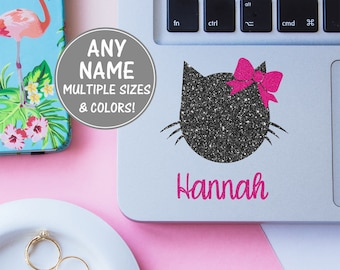 Cat Laptop Stickers Cat Lover Glitter Name Decal, Cursive Name Sticker Kitten Decal Bow Decal, Girl Decal Cute Vinyl Decal for Girls