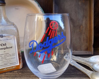 Stemless Hand Painted Los Angeles Dodgers Wine Glass