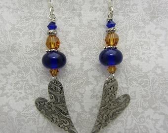 Lampwork Earrings Blue Earrings Glass Bead Earrings Dangle Drop Earrings With Silver Metal Heart Charm SRAJD USA Handmade