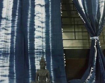 TWO PANELS Tie Dye Indigo Shibori curtains, Bohemian curtains, Boho decor, Beach curtains, Blue and white curtains, drapes, blue shibori