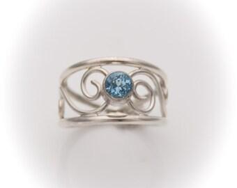Sterling Silver Aquamarine Ring, Sterling Silver Scroll Ring, Sterling Silver Aquamarine Scroll Ring, Aquamarine Ring