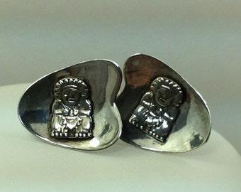 Vintage silver Aztec cufflinks