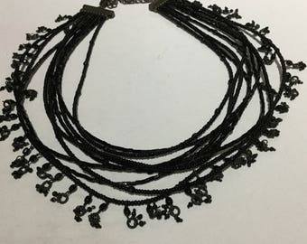 Multi Strands Black Glass Seeds Necklace