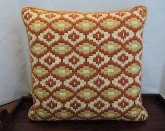MId Century Vintage Needlepoint Bargello Pillow Rust Gold Cream