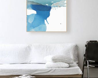 """Original Abstract Landscape Canvas Art, blue/green, aqua, pink, teal, 25 x 30""""  """"Early Winter Waterway I"""" modern contemporary painting"""