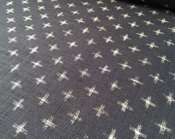 Sevenberry cross kasuri-print pattern navy indigo blue Japanese cotton fabric
